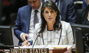 'If this resolution ever made sense, it surely does not today. The resolution is plainly biased against Israel,' Nikki Haley said.