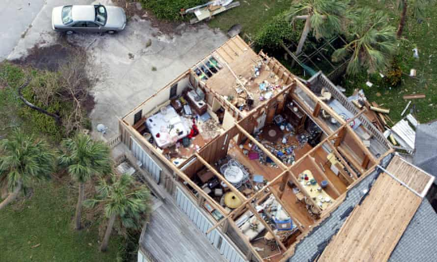 A home without a roof after Hurricane Jeanne in Sebastian, Florida, on 27 September 2004.