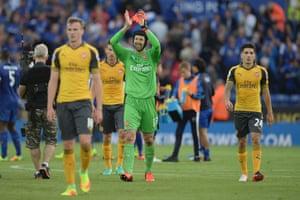 Arsenal's Czech goalkeeper Petr Cech applauds the fans after the final whistle.