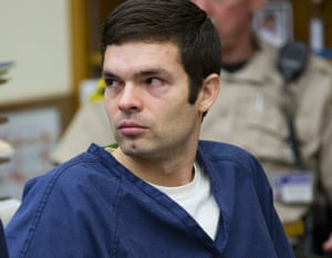 Kevin Christopher Bollaert, 28, sits in court during his sentencing hearing in San Diego. Bollaert was sentenced to 18 years in prison for operating a 'revenge porn' website and charging victims to remove the images. Prosecutors said he earned about $30,000 from people who paid to remove the images.