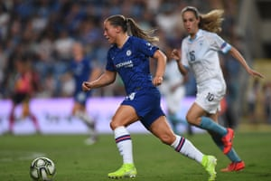 Chelsea's Fran Kirby surges forward during the pre-season friendly match against the Israel national team in Petah Tiqwa, Israel during August 2019.