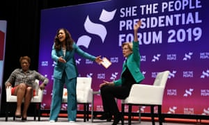 Elizabeth Warren participates in the She the People Presidential Forum, hosted by political analyst Joy Reid, left, and Aimee Allison, centre, founder and president of the She the People organization, in Houston.