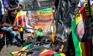 Protests against polling results in Harare, Zimbabwe, on Wednesday, turned violent