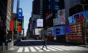 7th Avenue in nearly deserted Times Square during the outbreak of the coronavirus disease in New York