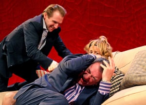 Fiennes as Alain Reille, Janet McTeer as Véronique Vallon and Ken Stott as Michel Vallon in Yasmina Reza's God of Carnage at the Gielgud theatre, London, in 2008, directed by Matthew Warchus.