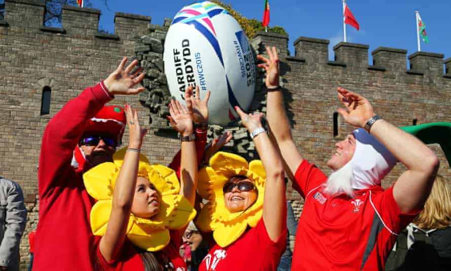 Highly visible Welsh rugby fans ... but is football more popular?