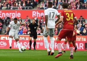 Serge Gnabry scores his sides third goal.