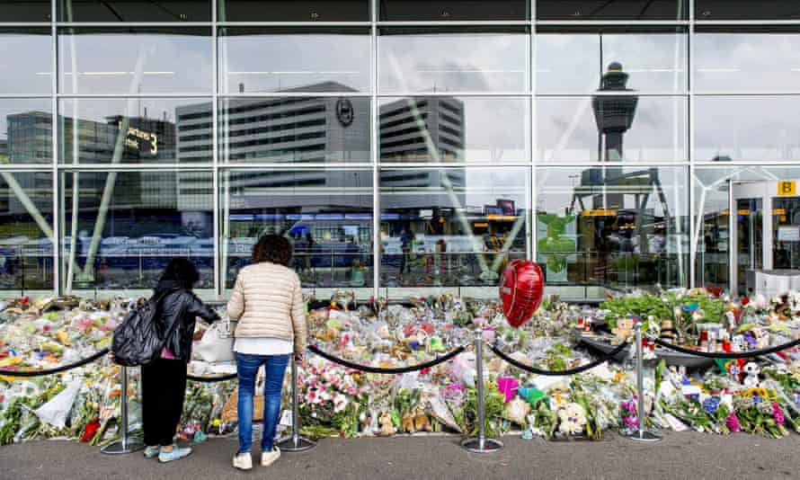 Tributes left at Schiphol airport commemorating MH17, which was shot down with 298 people on board, including 193 Dutch citizens