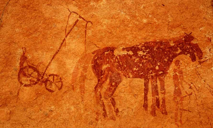 Rock paintings of Neolithic farming in Tassili de Maghidet, Libya.