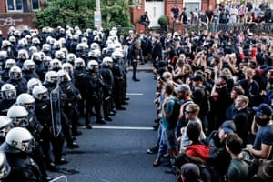 Face to face, police and protesters