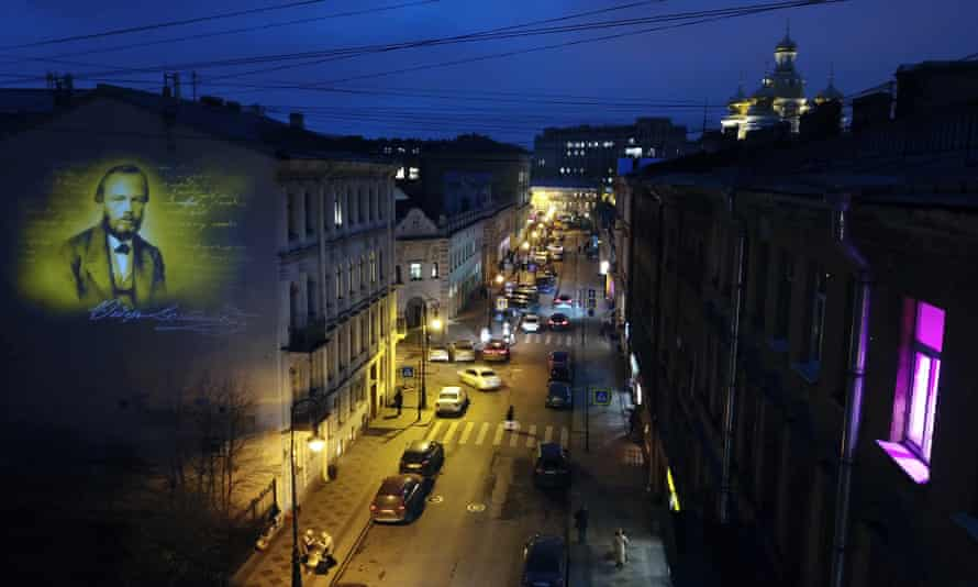 A projection of Dostoevsky's portrait lights up the firewall of a house in St Petersburg where he spent the last years of his life.