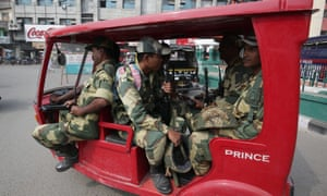 Indian paramilitary forces patrol the city of Amritsar following days of violence in Punjab state.