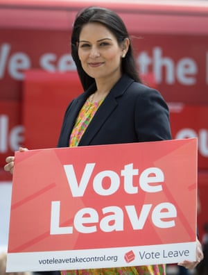 Priti Patel on a Vote Leave tour in Portsmouth in May.