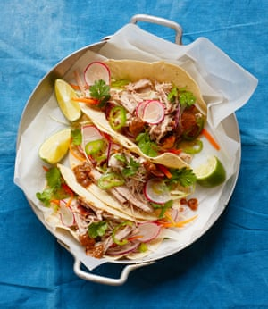 Caramelised pork belly tacos with chipotle and tamarind relish