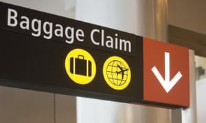 A Baggage Claim sign at an airport using San Serif typography.