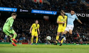 A deft first time finish from Gabriel Jesus gives him his fourth of the night and Manchester City's seventh.