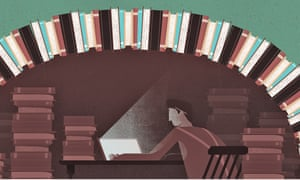 Illustration by Thomas Pullin of man in cave of books