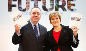 Sturgeon with Alex Salmond in 2013, launching the Scottish government's white paper on independence.