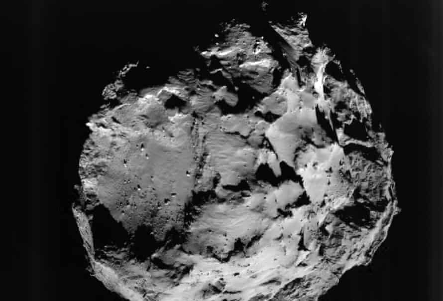 Comet 67P/Churyumov-Gerasimenko, in a pictures taken during Philae's descent by the ROLIS instrument on board the lander. This view is of the surface from approximately 3 km away.