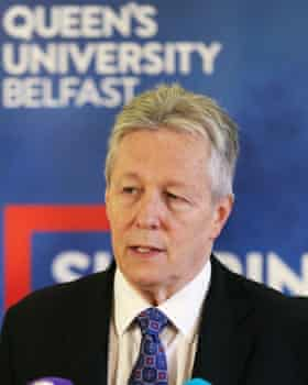 Peter Robinson during an event to mark the 20th anniversary of the Good Friday agreement.