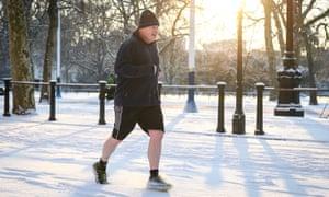 Boris Johnson running in the snow