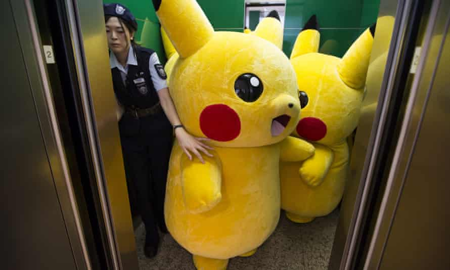 Two Pikachu stuck in a lift