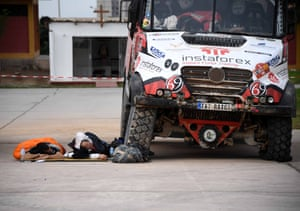Tatra's truck driver Ales Loprais and co-driver Petr Pokorada sleep in the bivouac in Tacna after completing the stage