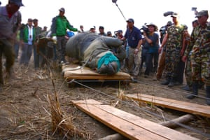 The rhino is loaded on a specially designed truck in which it will take its journey from Chitwan to Bardia national park.