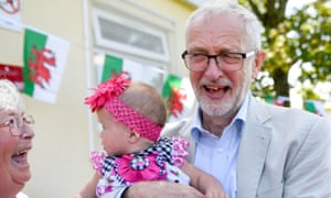 Jeremy Corbyn on a visit to a children's lunch club in Swansea