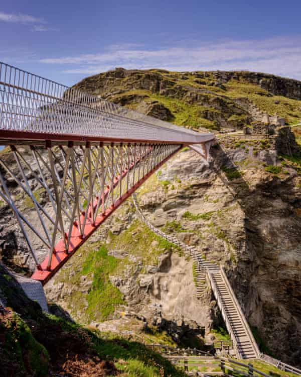'Pensioners were regularly stranded' … the new bridge and the previous 148-step access route.