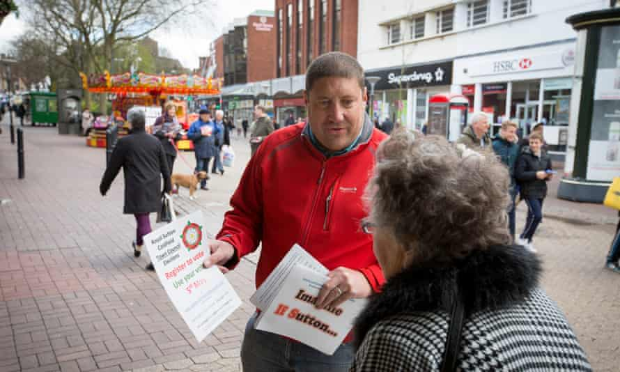 Paul Long canvassing for the Independents for Sutton ahead of the elections on 5 May