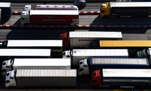 Trucks waiting for border checks at Dover