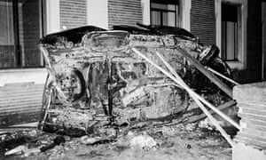 The car of Luis Carrero Blanco after the explosion.