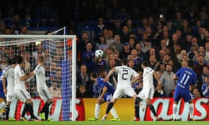 Pedro scores Chelsea's first goal of their Champions League Group C match against Qarabag at Stamford Bridge.