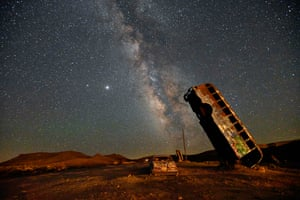 Goldfield, Nevada, US: The Milky Way galaxy is seen in the sky above the International Car Forest of the Last Church.
