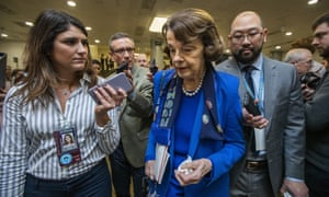 Dianne Feinstein speaks to reporters at the Capitol in Washington.