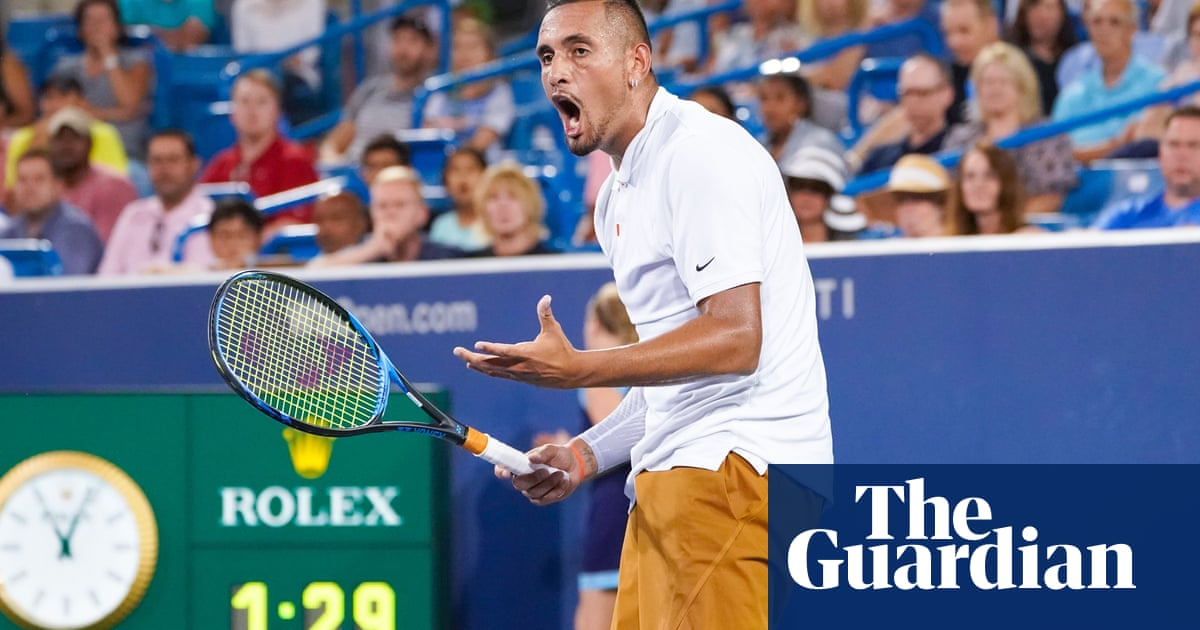 Nick Kyrgios calls umpire a tool and smashes two rackets during Khachanov defeat – video
