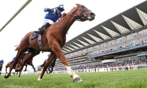 Mohaafeth, ridden by Jim Crowley, wins the Hampton Court Stakes at Royal Ascot.