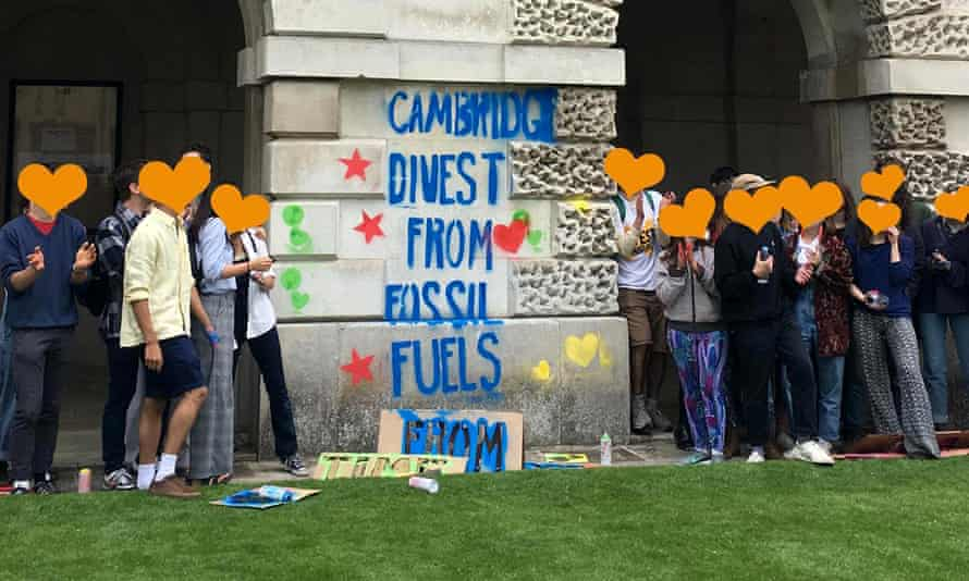 Cambridge students protesting this week against the university's fossil fuel investments