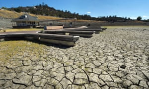 Boat docks in a dried up reservoir near Sacramento, California. Last month was 0.91C above the average temperature.