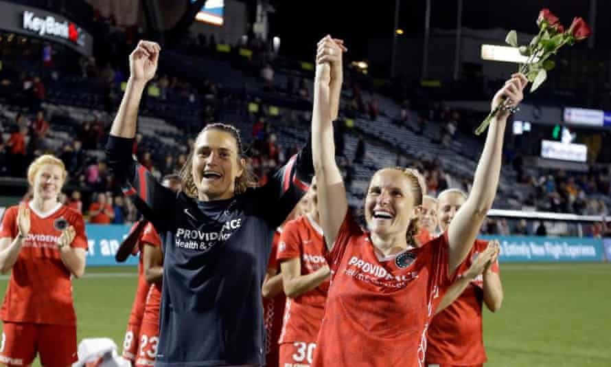 Nadine Angerer and Rachel Van Hollebeke wave to the Thorns crowd after announcing their retirements in August last year. The Thorns averaged about 15,000 fans for each home game last season.