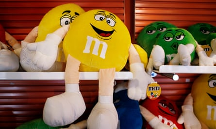 M&M's candy dolls are displayed for sale