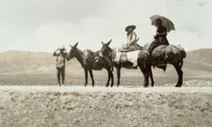 Explorer Freya Stark sat on a donkey during an expedition to Jabal al-Druze, Syria.