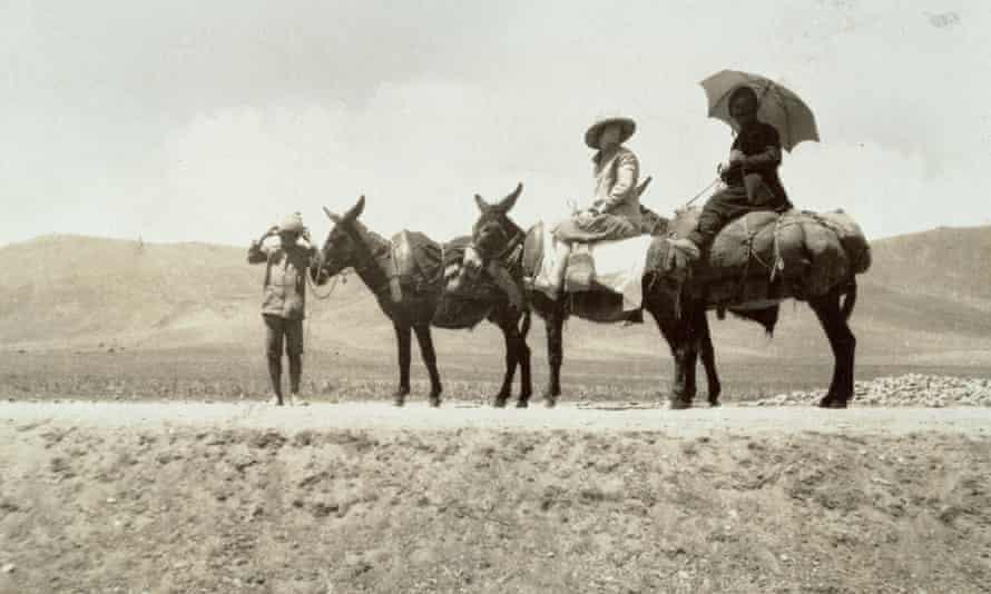 Explorer Freya Stark sat on a donkey during an expedition to Jabal al-Druze, Syria.
