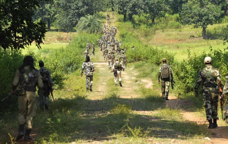 An Indian police unit, CRPF, patrol in Sukma district, Chhattisgarh, in 2013.