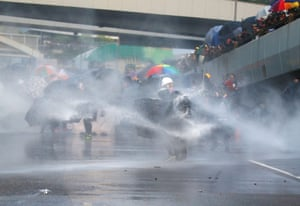 Water cannon are used against protesters