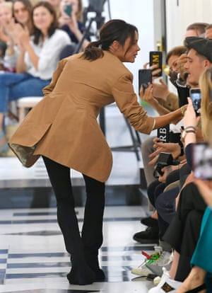 22ef1b35655 Victoria Beckham on the catwalk at London fashion week in September 2018
