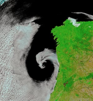 cyclonic rotation off the coast of Portugal
