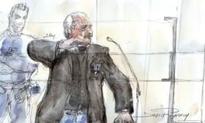 A courtroom sketch of Ilich Ramírez Sánchez, aka Carlos the Jackal