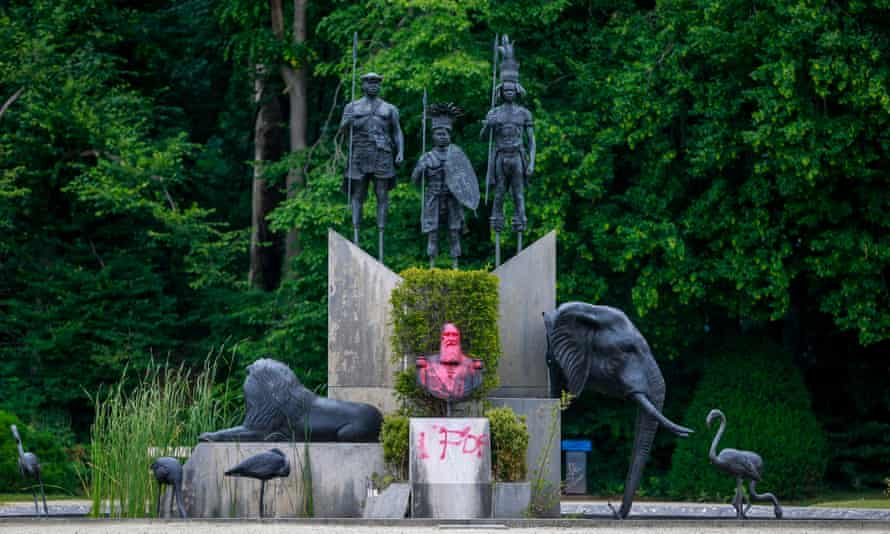A statue of former Belgian King Leopold II, sprayed with paint, at the park of the Africa Museum, in Tervuren, Belgium, 10 June 2020.